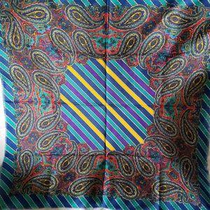 Accessories - Japanese Paisley Print Stripe Acrylic Fringe Scarf